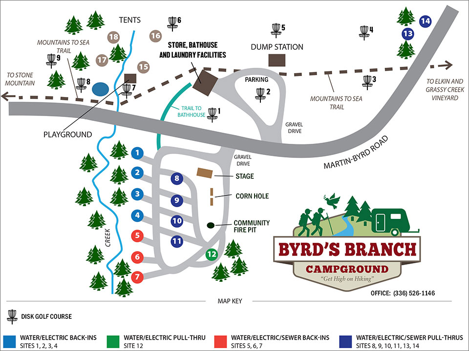 Bryds Branch Campground Site Map